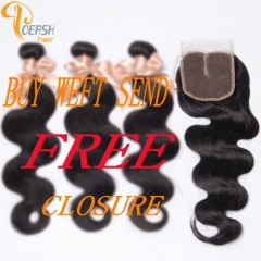 6A 1B Natural Black Color 3Pcs/Lot Body Wave Remy Human Hair Weft With Free Middle Part 4×4 Lace Closure