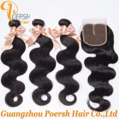 6A Brazilian Hair 1B Natural Black Color Body Wave Remy Hair Weft 3Pcs With Middle Part 4×4 Lace Closure