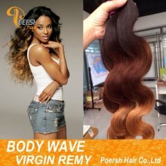 Poersh Hair 6A 1B427 Ombre Color 3Pcs/Lot Body Wave Remy Human Hair Weft