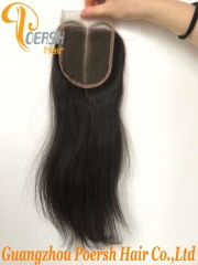 8A Top Quality 1B Natural Black Color Straight Hair 100% Unprocessed Raw Virgin Human Hair Middle Part 4×4 Lace Closure