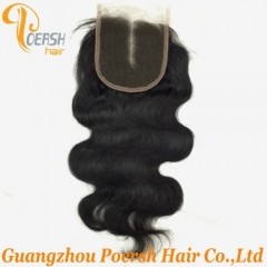 8A Top Quality 1B Natural Black Color Body Wave 100% Unprocessed Raw Virgin Human Hair Middle Part 4×4 Lace Closure
