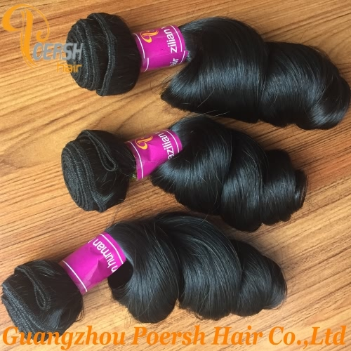 Poersh Hair 8A Unprocessed Raw Virgin Hair Top Quality 1B Natural Black Color Loose Wave 3Pcs/Lot Human Hair Weft