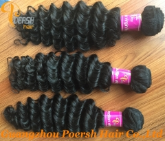 Clearance Big Sale Poersh Hair 16/22-26inch 7AA Virgin Hair High Quality 1B# Natural Color Deep Wave 1Pc/Lot Human Hair Weft