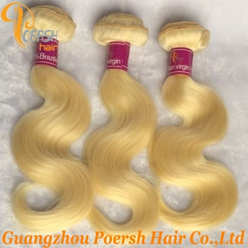 Poersh Hair Diamond Grade Unprocessed Raw Virgin Hair 613 Blonde Color Top Quality Body Wave 3Pcs/Lot Human Hair Weft