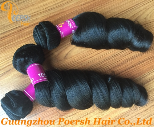 Poersh Hair Diamond Grade Unprocessed Raw Virgin Hair Top Quality 1B Natural Black Color Loose Wave 3Pcs/Lot Human Hair Weft