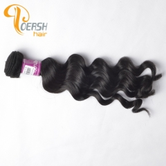 Poersh Hair Top Grade Unprocessed Raw Virgin Hair Top Quality 1B Natural Black Color Big Deep Wave 1Pc/Lot Human Hair Weft