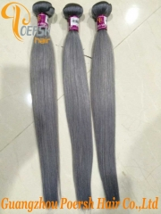 Poersh Hair 14-24inch 7A Unprocessed Virgin Hair High Quality Gray Color Straight Hair 1Pc/Lot Human Hair Weft