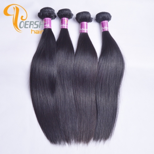 Poersh Hair 8A Uprocessed Raw Virgin Hair Top Quality 1B Natural Black Color Straight Hair 4Pcs/Lot Human Hair Weft