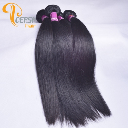 Poersh Hair Top Grade Uprocessed Raw Virgin Hair Top Quality 1B Natural Black Color Straight Hair 4Pcs/Lot Human Hair Weft