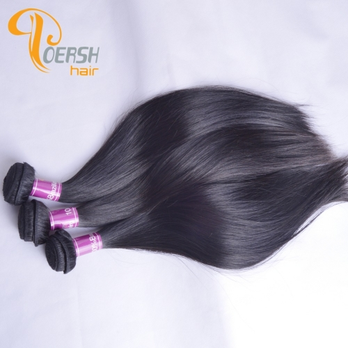 Poersh Hair 8A Unprocessed Raw Virgin Hair Top Quality 1B Natural Black Color Straight Hair 3Pcs/Lot Human Hair Weft