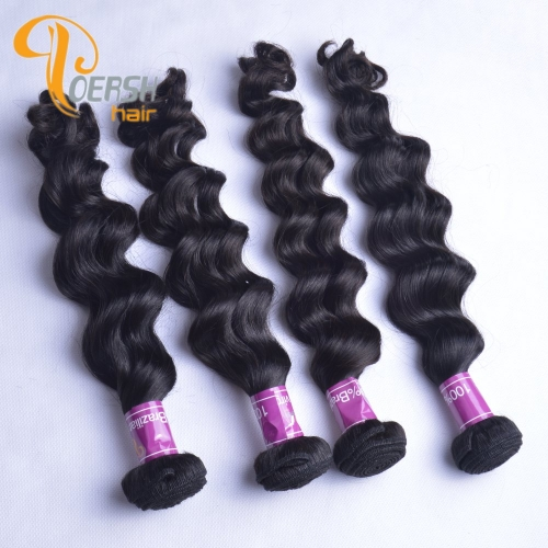 Poersh Hair Top Grade Uprocessed Raw Virgin Hair Top Quality 1B Natural Black Color Big Deep Wave 4Pcs/Lot Human Hair Weft