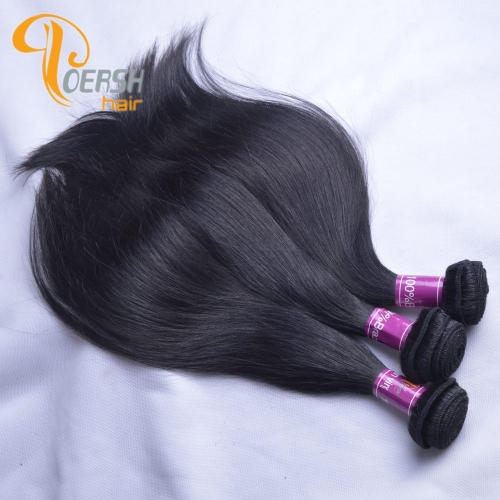 Poersh Hair Top Grade Unprocessed Raw Virgin Hair 1B Natural Black Color Top Quality Straight Hair 3Pcs/Lot Human Hair Weft