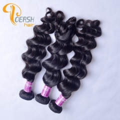 Poersh Hair Top Grade Unprocessed Raw Virgin Hair 1B Natural Black Color Top Quality Big Deep Wave 3Pcs/Lot Human Hair Weft