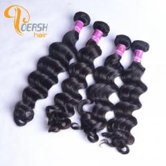 Poersh Hair 7A Virgin Remy Hair High Quality 1B Natural Black Color Big Deep Wave 4Pcs/Lot Human Hair Weft