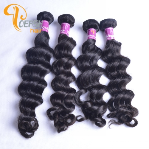 Poersh Hair Diamond Grade Uprocessed Raw Virgin Hair Top Quality 1B Natural Black Color Big Deep Wave 4Pcs/Lot Human Hair Weft