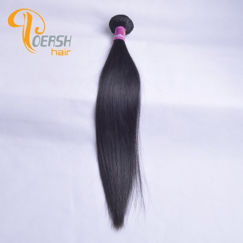 Poersh Hair 8A Unprocessed Raw Virgin Hair Top Quality 1B Natural Black Color Straight Hair 1Pc/Lot Human Hair Weft