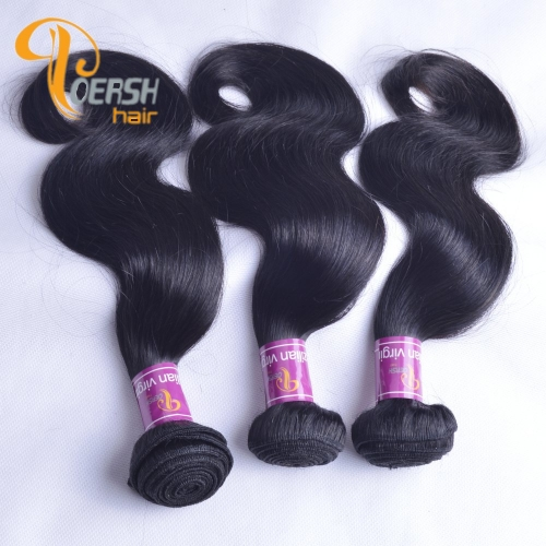 Poersh Hair Diamond Grade Unprocessed Raw Virgin Hair 1B Natural Black Color Top Quality Body Wave 3Pcs/Lot Human Hair Weft