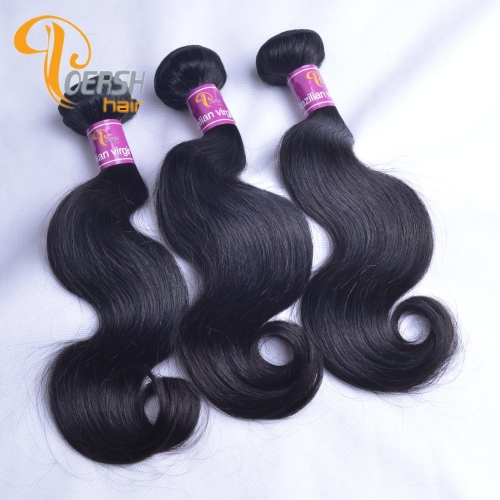 Poersh Hair Top Grade Unprocessed Raw Virgin Hair 1B Natural Black Color Top Quality Body Wave 3Pcs/Lot Human Hair Weft