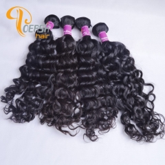 Poersh Hair Diamond Grade Uprocessed Raw Virgin Hair Top Quality 1B Natural Black Color Italy Curly 4Pcs/Lot Human Hair Weft