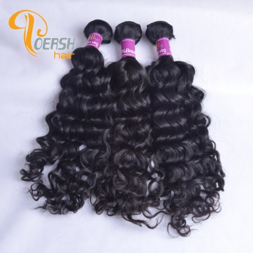 Poersh Hair Diamond Grade Unprocessed Raw Virgin Hair Top Quality 1B Natural Black Color Italy Curly 3Pcs/Lot Human Hair Weft