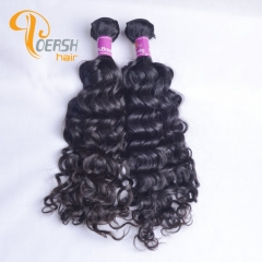 Poersh Hair 8A Unprocessed Raw Virgin Hair Top Quality 1B Natural Black Color Italy Curly 2Pcs/Lot Human Hair Weft