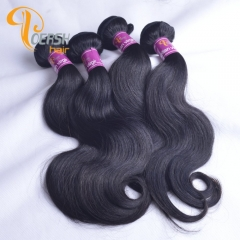 Poersh Hair Diamond Grade Uprocessed Raw Virgin Hair Top Quality 1B Natural Black Color Body Wave 4Pcs/Lot Human Hair Weft