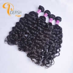 Poersh Hair Top Grade Uprocessed Raw Virgin Hair Top Quality 1B Natural Black Color Italy Curly 4Pcs/Lot Human Hair Weft