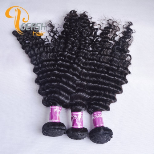 Poersh Hair Diamond Grade Unprocessed Raw Virgin Hair 1B Natural Black Color Top Quality Deep Wave 3Pcs/Lot Human Hair Weft