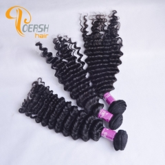Poersh Hair 8A Unprocessed Raw Virgin Hair Top Quality 1B Natural Black Color Deep Wave 3Pcs/Lot Human Hair Weft