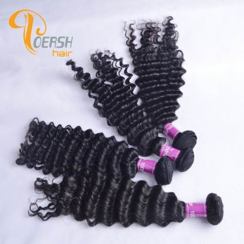 Poersh Hair Top Grade Uprocessed Raw Virgin Hair Top Quality 1B Natural Black Color Deep Wave 4Pcs/Lot Human Hair Weft