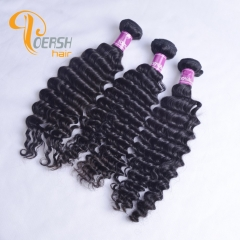 Poersh Hair Top Grade Unprocessed Raw Virgin Hair 1B Natural Black Color Top Quality Deep Wave 3Pcs/Lot Human Hair Weft