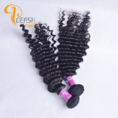 Poersh Hair 7A Virgin Remy Hair High Quality 1B Natural Black Color Deep Wave 2Pcs/Lot Human Hair Weft