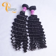 Poersh Hair 8A Unprocessed Raw Virgin Hair Top Quality 1B Natural Black Color Deep Wave 2Pcs/Lot Human Hair Weft