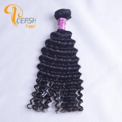 Poersh Hair 8A Unprocessed Raw Virgin Hair Top Quality 1B Natural Black Color Deep Wave 1Pc/Lot Human Hair Weft