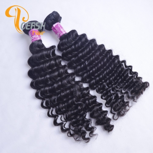 Poersh Hair Diamond Grade Unprocessed Raw Virgin Hair Top Quality 1B Natural Black Color Deep Wave 2Pcs/Lot Human Hair Weft