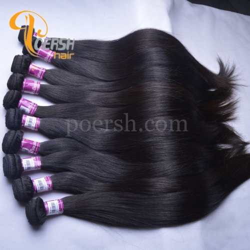 Poersh Hair 8A Unprocessed Raw Virgin Hair Top Quality 1B Natural Black Color Straight Hair 10Pcs/Lot Human Hair Weft