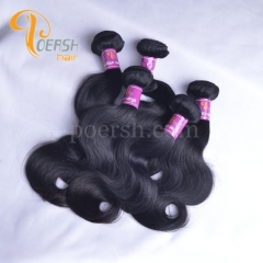 Poersh Hair 10-28inch 8A Unprocessed Virgin Hair Top Quality 1B Natural Black Color Body Wave 10Pcs/Lot Human Hair Weft