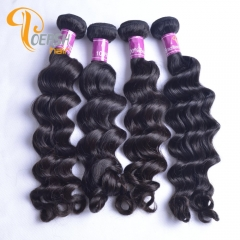Poersh Hair 8A Unprocessed Virgin Hair Top Quality 1B Natural Black Color Big Deep Wave 10Pcs/Lot Human Hair Weft