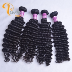 Poersh Hair 8A Unprocessed Virgin Hair Top Quality 1B Natural Black Color Deep Wave 10Pcs/Lot Human Hair Weft