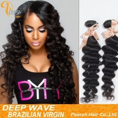 Clearance Big Sale Poersh Hair 24inch 6A Remy Hair 1B Natural Black Color Deep Wave 1Pc/Lot Human Hair Weft