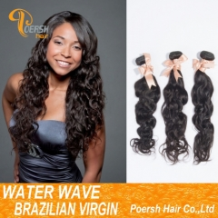Clearance Big Sale Poersh Hair 24inch 6A Remy Hair 1B Natural Black Color Water Wave 3Pcs/Lot Human Hair Weft