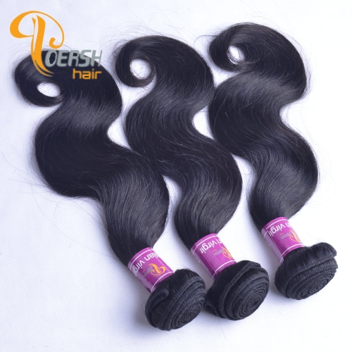 Poersh Hair 8A Unprocessed Raw Virgin Hair Top Quality 1B Natural Black Color Body Wave 3Pcs/Lot Human Hair Weft