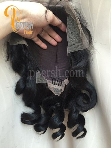 8A 10-20inch 1B Natural Black Color Loose Wave Unprocessed Raw Virgin Human Hair Lace Front Wig