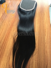 8A Top Quality 1B Natural Black Color Straight Hair 100% Unprocessed Raw Virgin Human Hair Free Part 4×4 Lace Closure