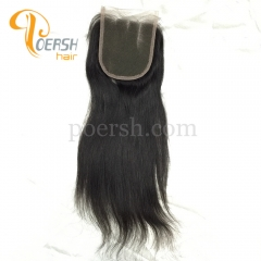 8A Top Quality 1B Natural Black Color Straight Hair 100% Unprocessed Raw Virgin Human Hair 3 Part 4×4 Lace Closure