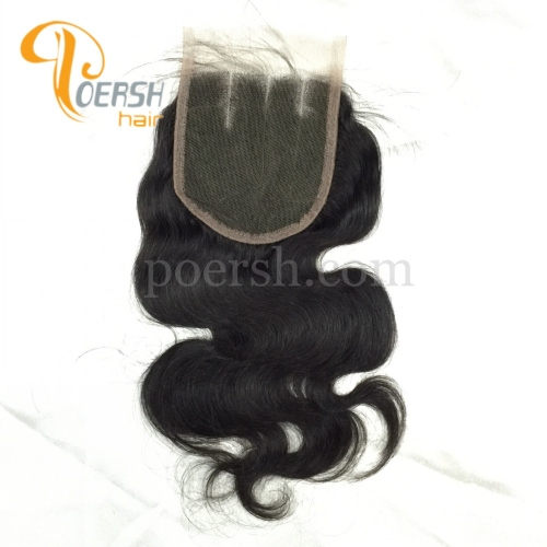 8A Top Quality 1B Natural Black Color Body Wave 100% Unprocessed Raw Virgin Human Hair 3 Part 4×4 Lace Closure