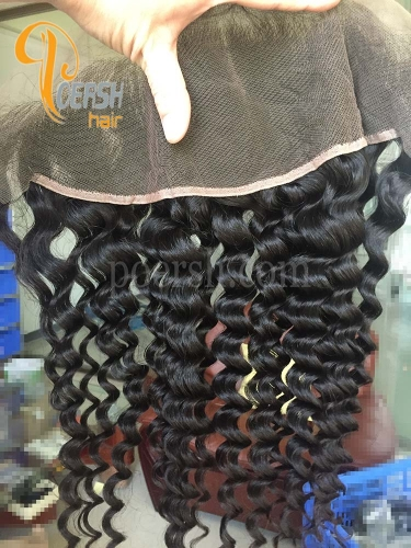 8A Top Quality 1B Natural Black Color Deep Wave 100% Unprocessed Raw Virgin Human Hair 13×4 Lace Frontal