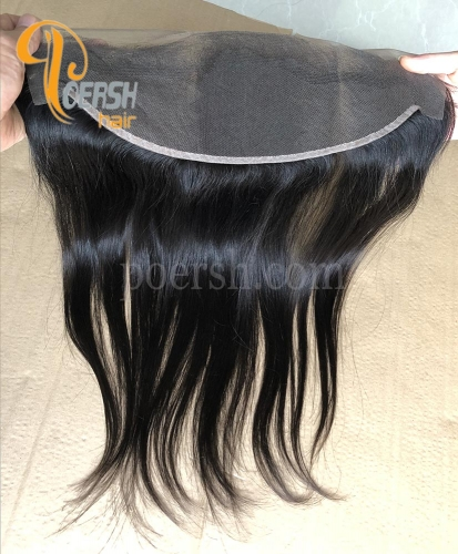 8A Top Quality 1B Natural Black Color Straight Hair 100% Unprocessed Raw Virgin Human Hair 13×4 Lace Frontal