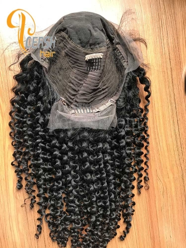 8A 10-20inch 1B Natural Black Color Curly Wave Unprocessed Raw Virgin Human Hair Lace Front Wig