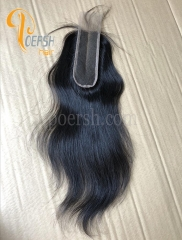 8A Top Quality 1B Natural Black Color Straight Hair 100% Unprocessed Raw Virgin Human Hair Middle Part 2×6 Lace Closure